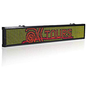 Leadleds 40x6 3 Inches RGY Tri-Color ( Red, Green, Amber ) LED Display  Board, Usb Programmable Scrolling Message for Business, Store, Advertising  :